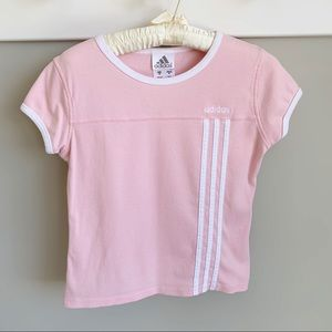 Adidas 3 stripes pink cropped cotton ringer tee
